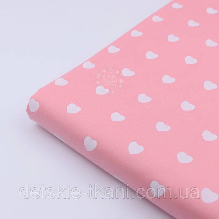 """Лоскут сатина """"Одинаковые сердечка"""" белые на тёмно-розовом № 2152с, размер 27*160 см"""