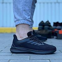 Текстильные кроссовки Stilli чёрные на чёрной подошве   текстиль + пена, фото 1