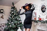 Черное строгое платье с кожзам рукавами