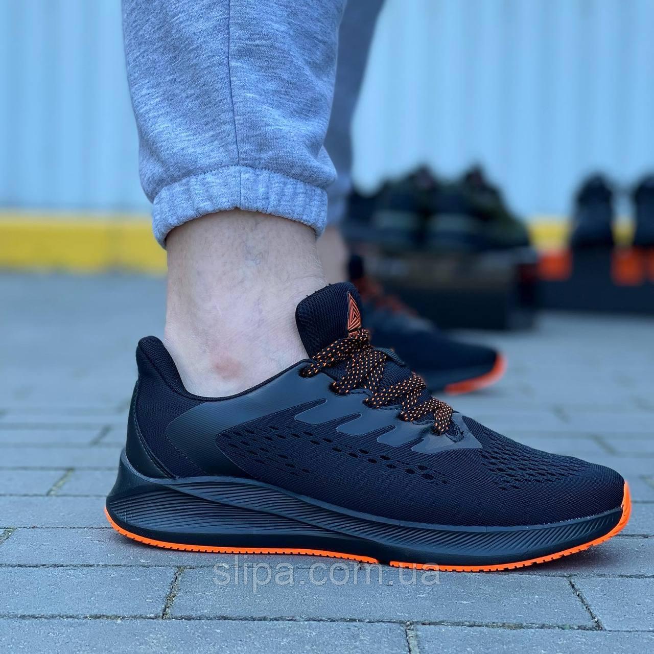 Текстильные кроссовки Stilli чёрные на чёрной подошве с оранжевым протектором   текстиль + пена