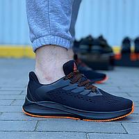 Текстильные кроссовки Stilli чёрные на чёрной подошве с оранжевым протектором   текстиль + пена, фото 1
