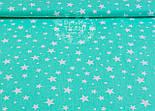 """Відріз бязі """"Зоряна розсип"""" з білими зірочками, фон тканини - м'ятний, № 991, розмір 55 * 160 см, фото 5"""