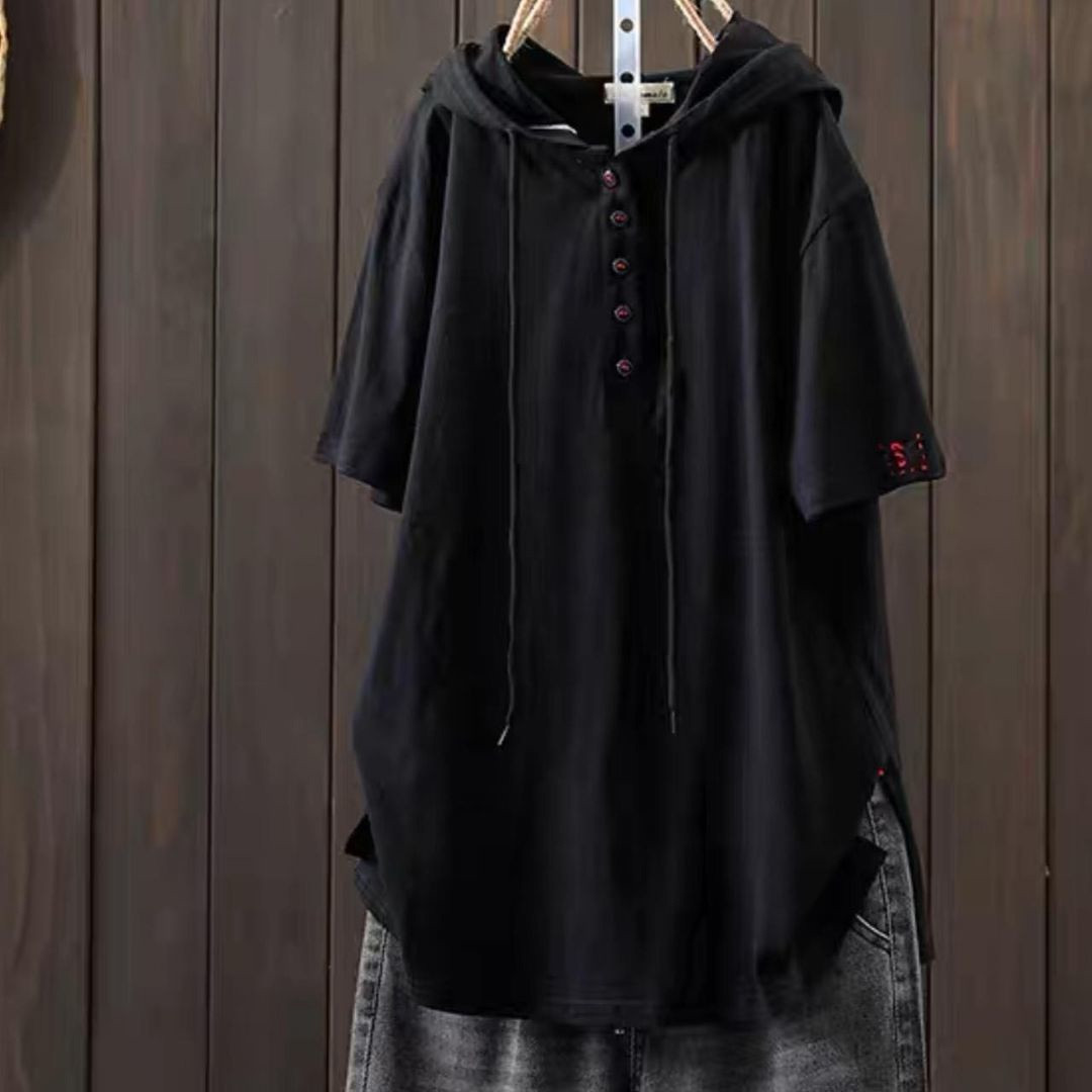 Женская туника, лен - жатка, универсальный 42-46; 48-52 (чёрный)