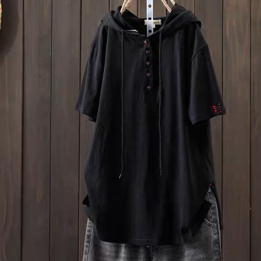 Жіноча туніка, льон - жатка, універсальний 42-46; 48-52 (чорний)