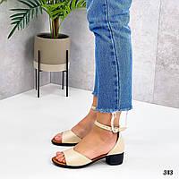 Бежевые кожаные босоножки на каблуке 4 см., фото 1