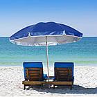 Зонт пляжний з клапаном і срібним напиленням, діаметр 3м., 16 спиць, Синій, фото 3
