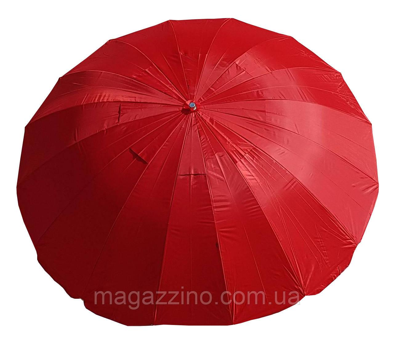 Зонт пляжний з клапаном і срібним напиленням, діаметр 3м., 16 спиць, Червоний