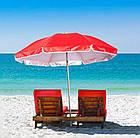 Зонт пляжний з клапаном і срібним напиленням, діаметр 3м., 16 спиць, Червоний, фото 3