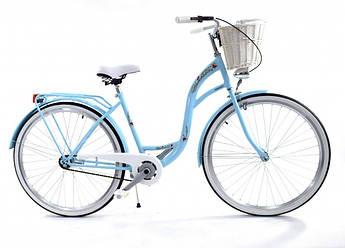 Велосипед женский городской VANESSA 28 sky с корзиной Польша