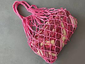 Большая сумка Авоська - розовая стрейч сумка