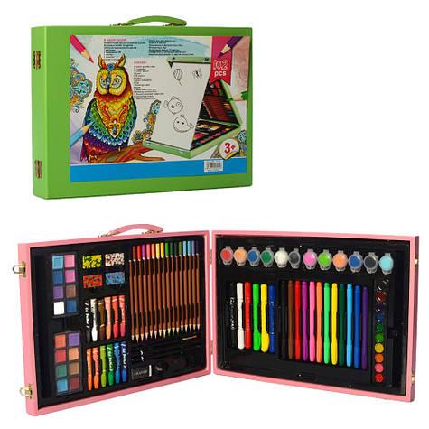 Детский набор для рисования в деревянном чемодане 102 предмета зеленый