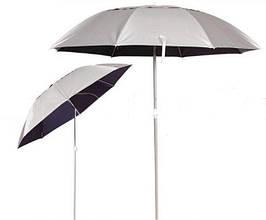Зонт для рыбалки с наклоном, диаметр 1,8 м., с серебряным напылением снаружи, с клапаном и системой ромашка.