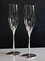 """Набор Свадебных бокалов для шампанского(2шт) """"Wedding Love"""" 220мл, стекло+металл"""