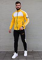 Жовтий спортивний костюм Adidas без капюшона з білою вставкою на грудях і чорними штанами   двухнить, фото 1