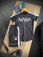 Мужской летний Спортивный костюм Nasa черный, Стильный комплект Футболка и Шорты Наса Турция