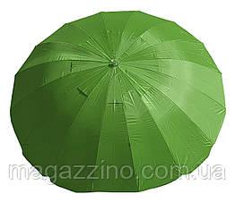 Зонт пляжний з клапаном і срібним напиленням, діаметр 3,3 м., 16 спиць, Зелений