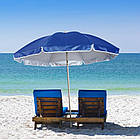 Зонт пляжний з срібним напиленням, діаметр 3,3 м., 12 товстих спиць, Синій, фото 3