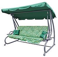 Садовая качеля гойдалка Ramiz диван 4-х местная раскладная зелена з візерунком
