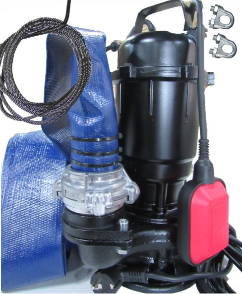 Фекальный насос AkWa PUMPS WQD 1,1 кВт чугунный корпус с измельчителем + шланг, гайки, трос силикон, перч.