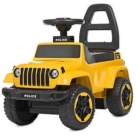 Толокар автомобиль для прогулок. муз, свет, USB, д65-ш33-в50см, на бат-ке, желтый
