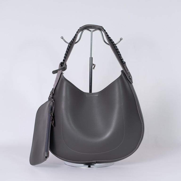 Жіноча сіра сумка-мішок K86-20/1 шоппер овальний на плече