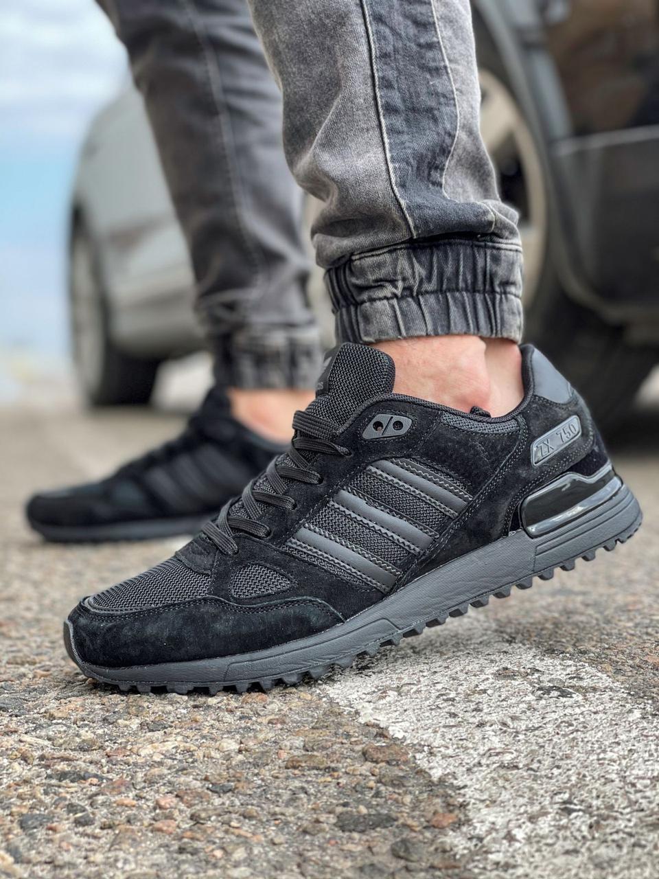 Кроссовки мужские 18164, Adidas ZX 750, черные [ 44 45 ] р.(44-28,5см)