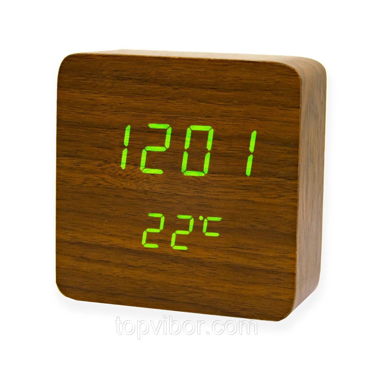 """Годинник настільний електронний """"VST-872 Коричневе дерево"""", світлодіодний годинник з термометром на батарейках"""