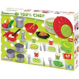 002621 Ігровий набір Chef-Cook, посуд з сушкою для салата, 47 аксес., 18міс.+