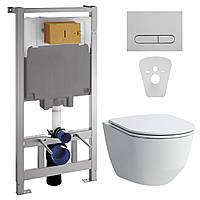 Комплект: PRO Rimless унитаз подвесной, с сиденьем Slim + VOLLE MASTER инсталляция для унитаза 4в1 (инст.,