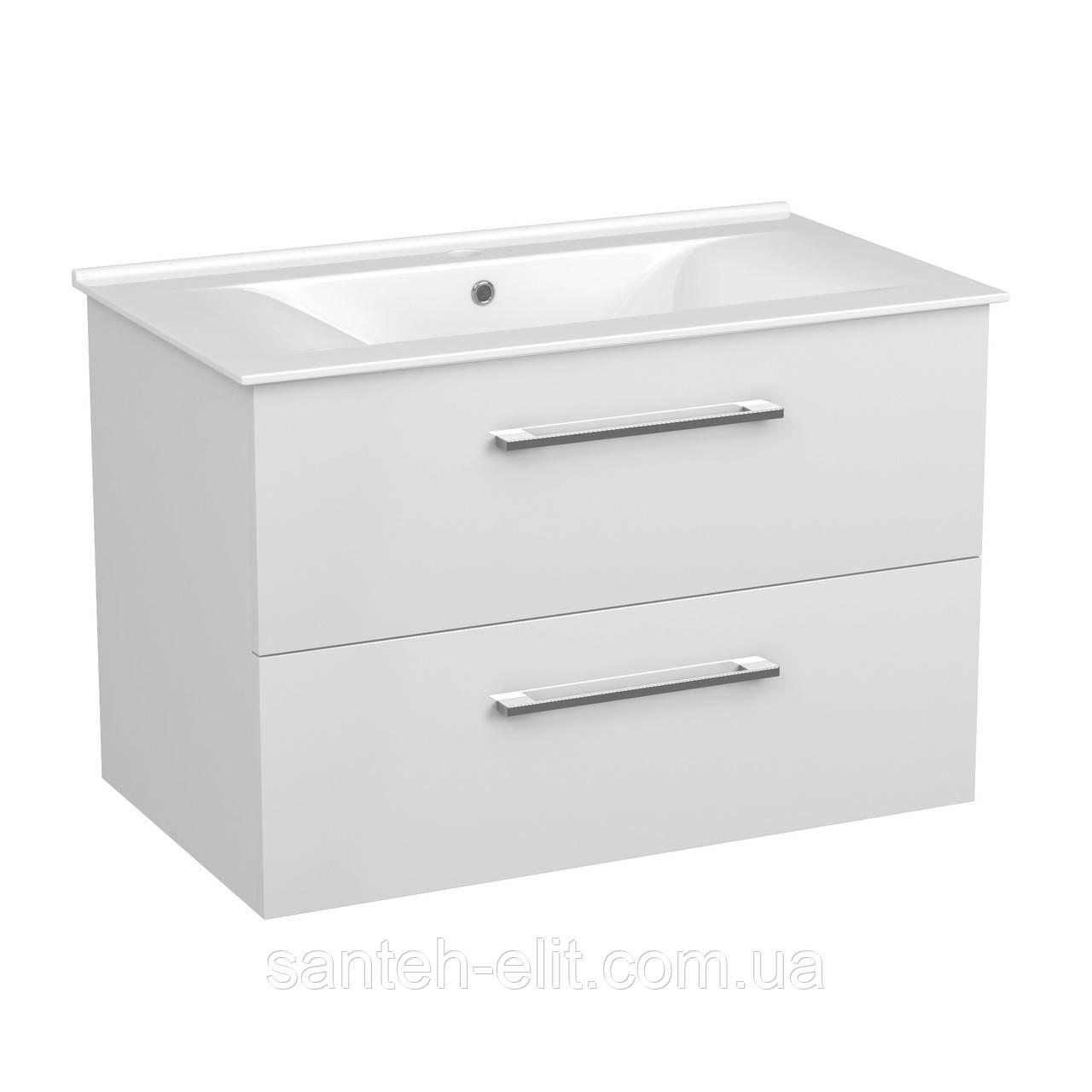 NEMO NEW комплект меблів 80см білий: тумба підвісна, 2 ящика + умивальник накладний арт 13-01-080B