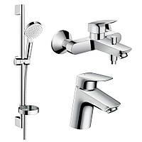 Hansgrohe LOGIS набор смесителей для ванны, умывальник 70 (71070000+71400000+26553400)
