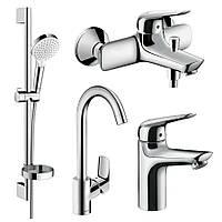 NOVUS набор смесителей для ванны, умывальник 100 + кухня (71030000+71040000+26553400+71835000)