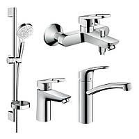 LOGIS LOOP набор смесителей для ванны, умывальник 100 + кухня (71151000+71244000+26553400+73885000)