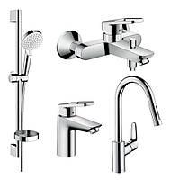 LOGIS LOOP набор смесителей для ванны, умывальник 100 + кухня (71151000+71244000+26553400+31815000)