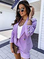 Женский стильный костюм: шорты и пиджак с карманами, фото 1
