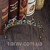 Діадема для волосся ЛОНДА, чорна тіара діадема з зеленими каменями, фото 7