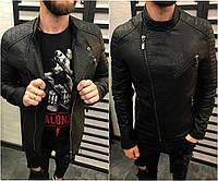 Мужская черная кожанная куртка косуха из кожзама, модная качественная куртка Турция