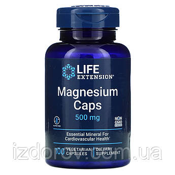 Life Extension, Магний 500 мг, Magnesium Caps, 100 вегетарианских капсул
