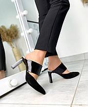 Женские мюли с острым носком на каблуке черная замша