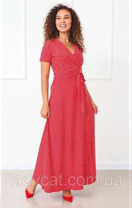 Летнее красное платье в горошек на запах в пол