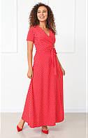 Летнее красное платье в горошек на запах в пол, фото 1