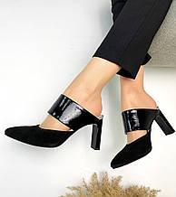Женские мюли с острым носком на каблуке черная замша 36