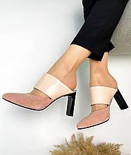 Женские мюли с острым носком на каблуке пудра замша
