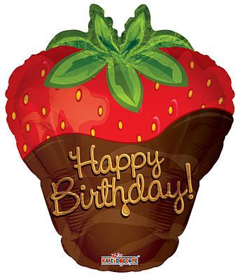 """К 18"""" Happy Birthday Strawberry. Шар ольгированный клубника в шоколаде С Днем рождения"""