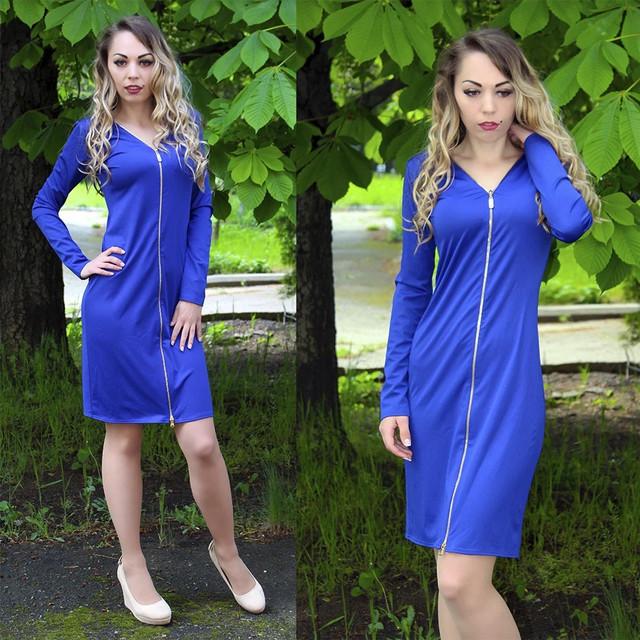 Трендовое платье с молнией спереди
