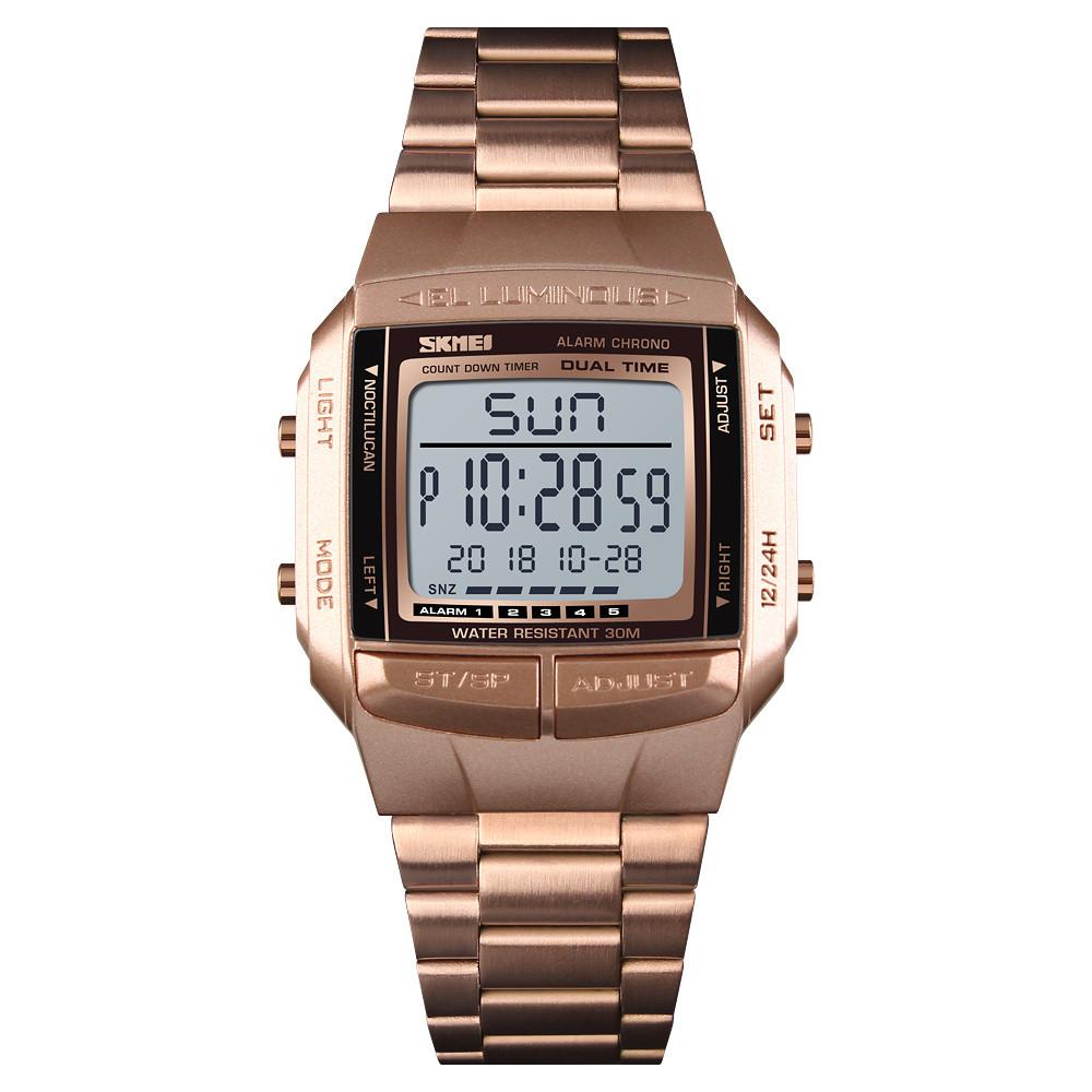 Skmei 1381 illuminator розовое золото мужские спортивные часы