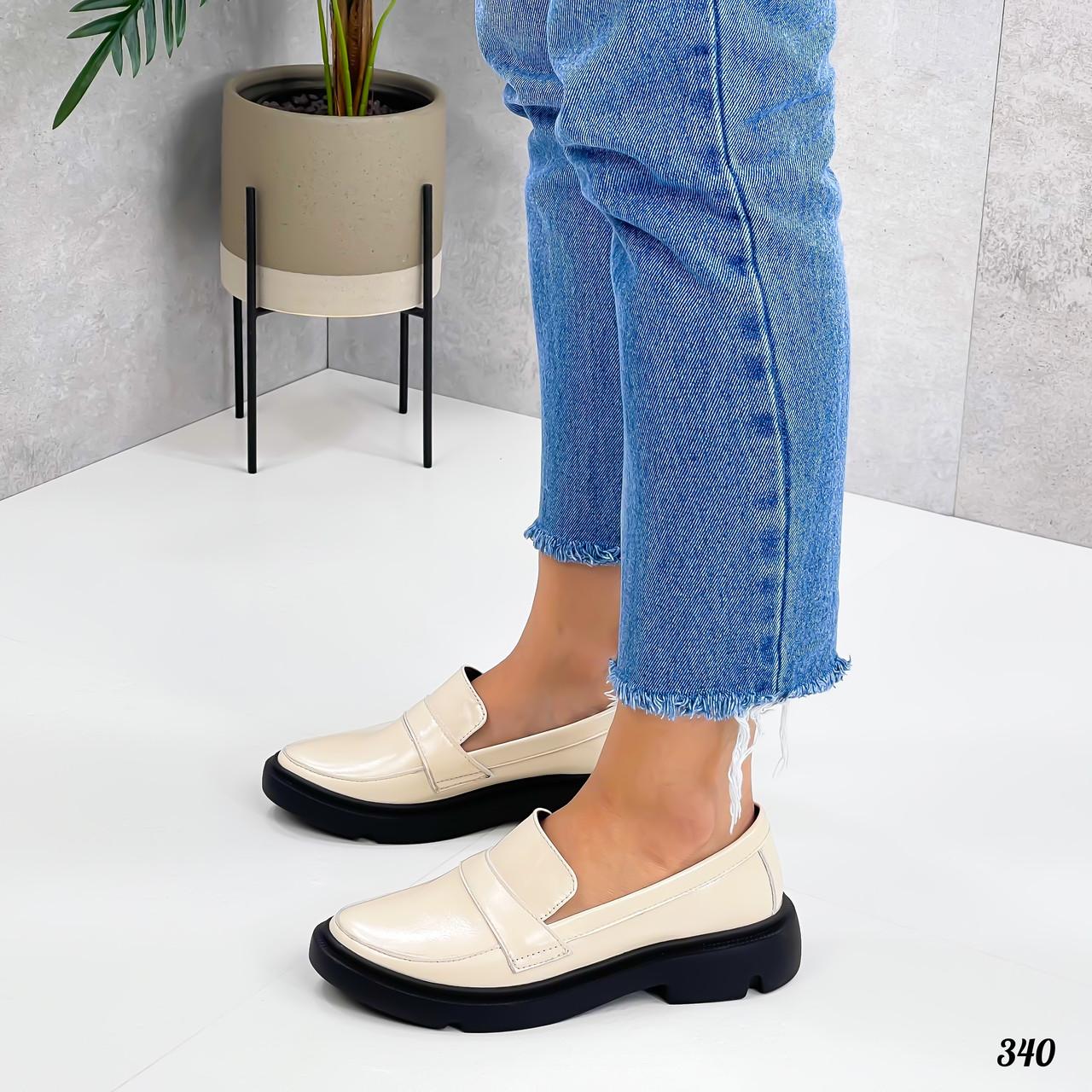 Туфли / броги женские бежевые на платформе натуральный лак