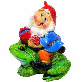 Садова фігура BnBkeramik Гном на жабі