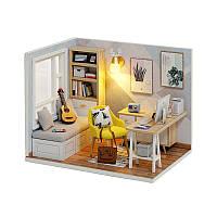 Кукольный дом конструктор DIY Cute Room QT-007-B Sunshine Study Room 3D Румбокс