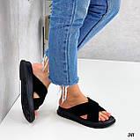 Шльопанці жіночі чорні натуральна замша, фото 2